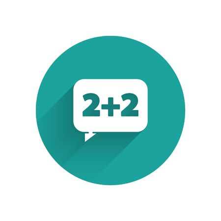 White Math system of equation solution on speech bubble icon isolated with long shadow. Green circle button. Vector Illusztráció