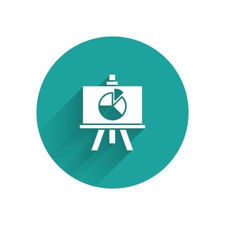 White Presentation board with graph, schedule, chart, diagram, infographic, pie graph icon isolated with long shadow. Green circle button. Vector Illustration