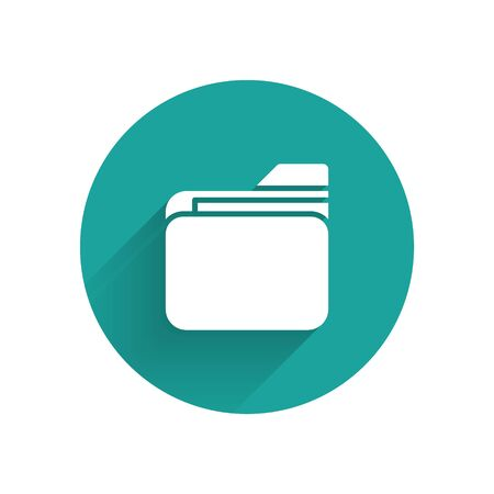 White Document folder icon isolated with long shadow. Accounting binder symbol. Bookkeeping management. Green circle button. Vector