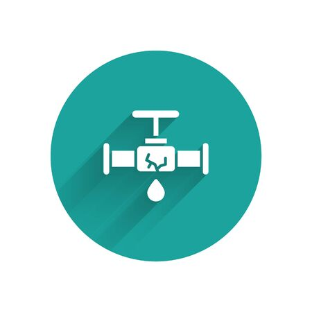 White Broken metal pipe with leaking water icon isolated with long shadow. Green circle button. Vector