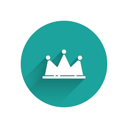 White Crown icon isolated with long shadow. Green circle button. Vector