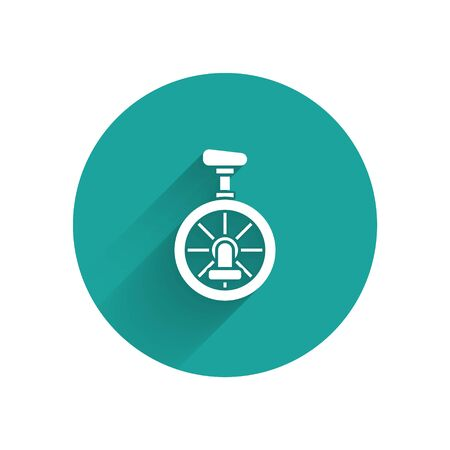 White Unicycle or one wheel bicycle icon isolated with long shadow. Monowheel bicycle. Green circle button. Vector Illustration