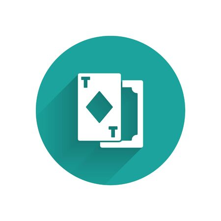 White Playing cards icon isolated with long shadow. Casino gambling. Green circle button. Vector Illustration