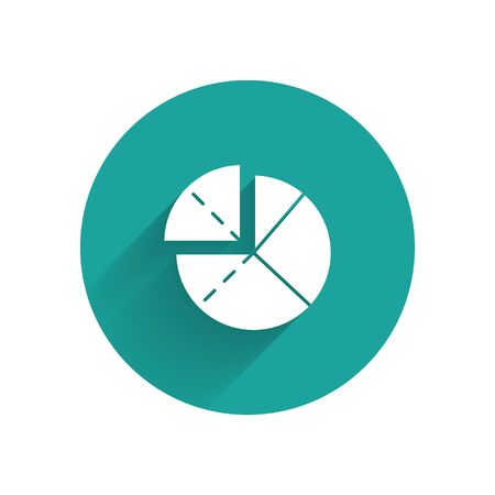 White Graph, schedule, chart, diagram, infographic, pie graph icon isolated with long shadow. Green circle button. Vector Stok Fotoğraf - 147584333