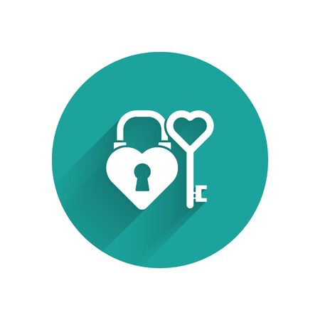 White Castle in the shape of a heart and key in heart shape icon isolated with long shadow. Love symbol and keyhole sign. Green circle button. Vector
