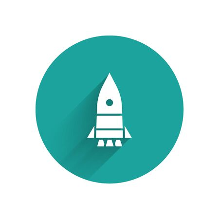 White Rocket ship icon isolated with long shadow. Space travel. Green circle button. Vector Illustration