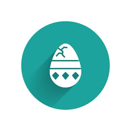 White Cracked egg icon isolated with long shadow. Happy Easter. Green circle button. Vector