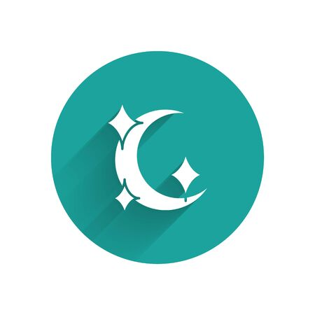 White Moon and stars icon isolated with long shadow. Green circle button. Vector Illustration Illusztráció