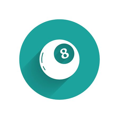 White Magic ball of predictions for decision-making icon isolated with long shadow. Crystal ball. Green circle button. Vector Vektorgrafik