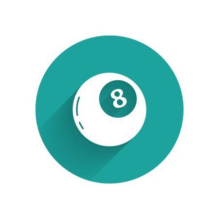 Boule magique blanche de prédictions pour l'icône de prise de décision isolée avec ombre portée. Boule de cristal. Bouton cercle vert. Vecteur Vecteurs