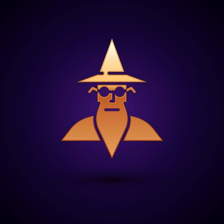 Gold Wizard warlock icon isolated on black background. Vector
