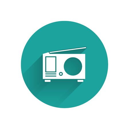 White Radio with antenna icon isolated with long shadow. Green circle button. Vector Illustration