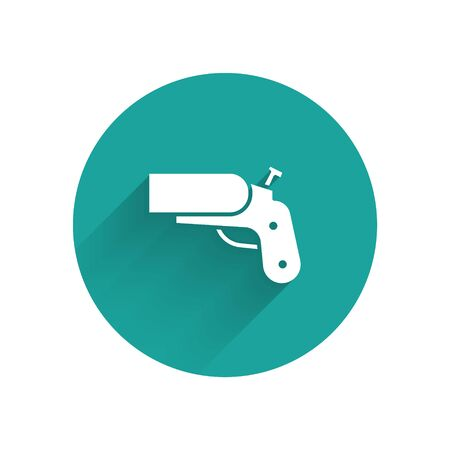White Flare gun pistol signal sos icon isolated with long shadow. Emergency fire shoot target smoke. Orange 911 launcher. Green circle button. Vector