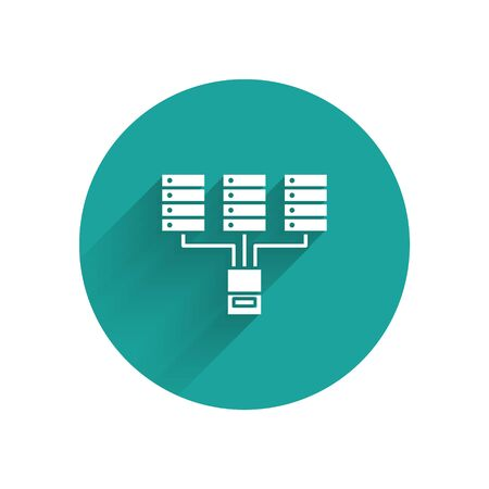 White Server, Data, Web Hosting icon isolated with long shadow. Green circle button. Vector