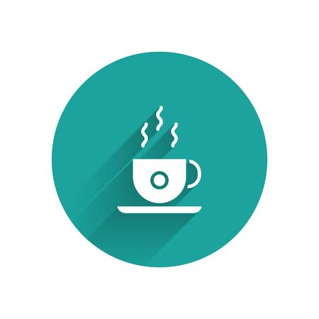 White Coffee cup icon isolated with long shadow. Tea cup. Hot drink coffee. Green circle button. Vector
