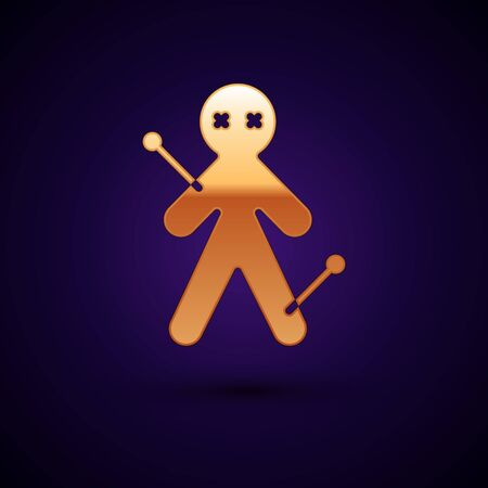 Gold Voodoo doll icon isolated on black background. Vector