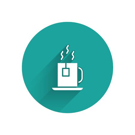 White Cup of tea with tea bag icon isolated with long shadow. Green circle button. Vector Ilustracja