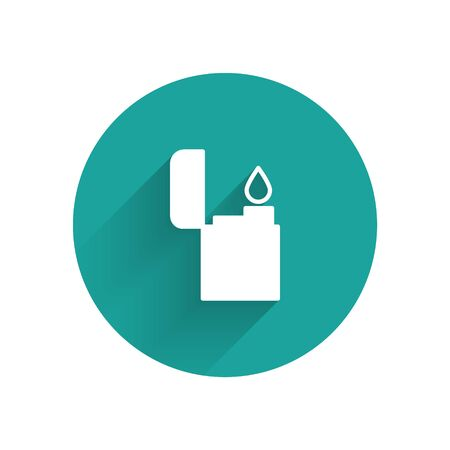 White Lighter icon isolated with long shadow. Green circle button. Vector