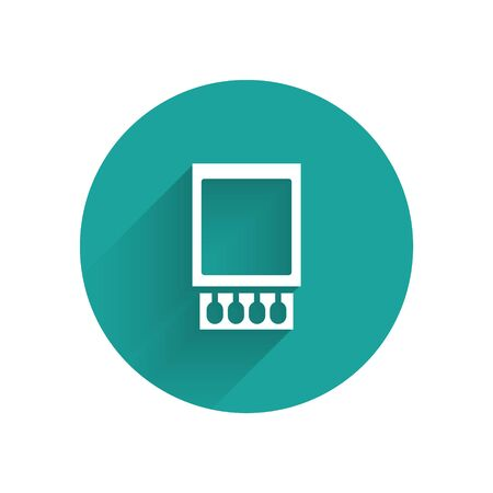 White Open matchbox and matches icon isolated with long shadow. Green circle button. Vector Illustration