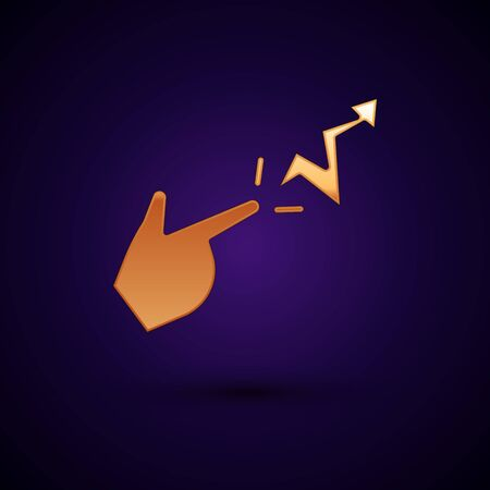 Gold Spell icon isolated on black background. The sorcerer hand performing spells. Vector Illusztráció