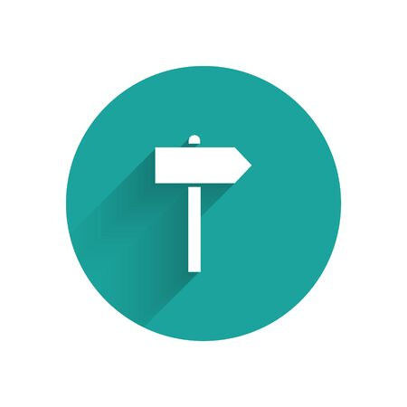 White Road traffic sign. Signpost icon isolated with long shadow. Pointer symbol. Street information sign. Direction sign. Green circle button. Vector