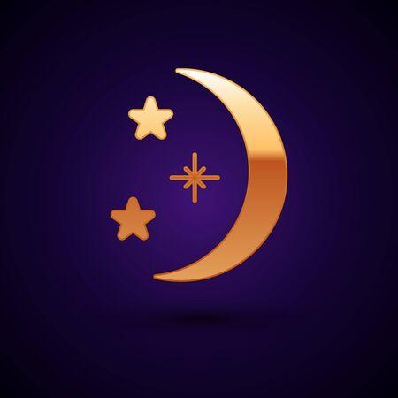 Gold Moon and stars icon isolated on black background. Vector Illustration Illusztráció