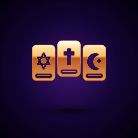 Gold Three tarot cards icon isolated on black background. Magic occult set of tarot cards. Vector Illustration