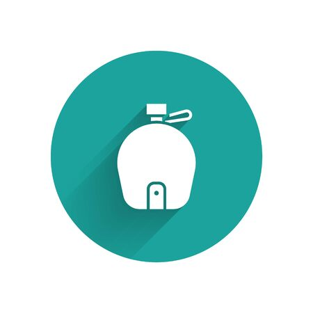 White Canteen water bottle icon isolated with long shadow. Tourist flask icon. Jar of water use in the campaign. Green circle button. Vector Ilustracja