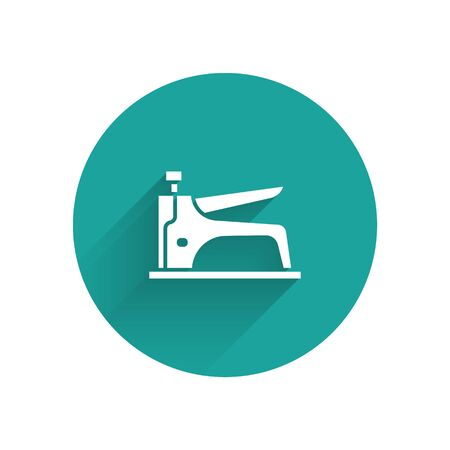 White Construction stapler icon isolated with long shadow. Working tool. Green circle button. Vector Illusztráció