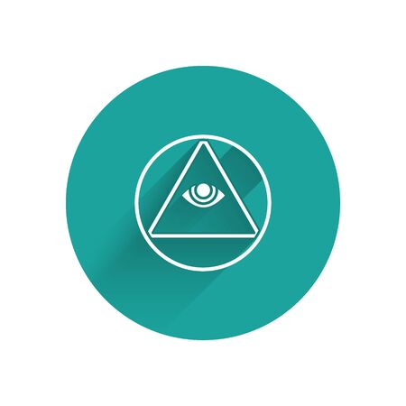 White Masons symbol All-seeing eye of God icon isolated with long shadow. The eye of Providence in the triangle. Green circle button. Vector