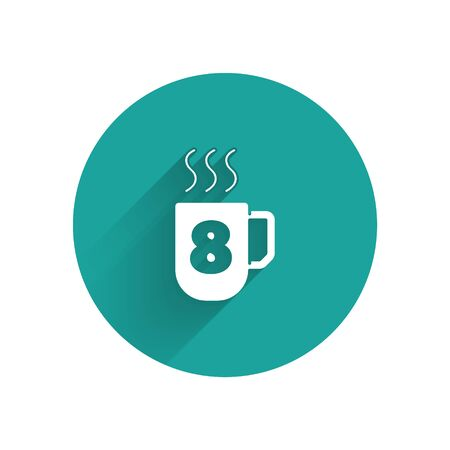 White Coffee cup with 8 March icon isolated with long shadow. Tea cup. Hot drink coffee. International Happy Women Day. Green circle button. Vector