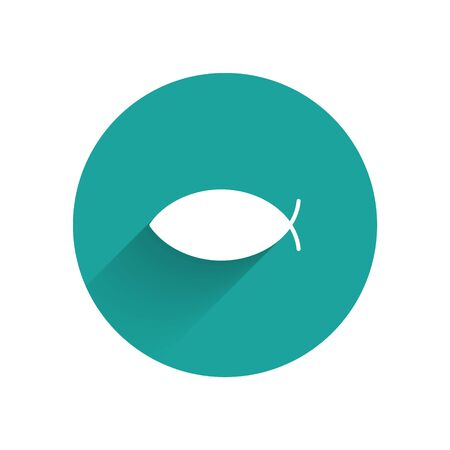 White Christian fish symbol icon isolated with long shadow. Jesus fish symbol. Green circle button. Vector Ilustração