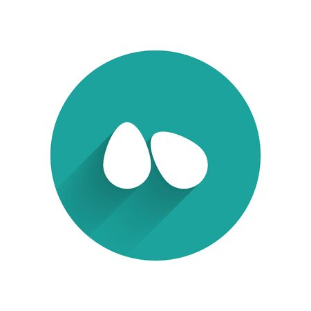 White Easter eggs icon isolated with long shadow. Happy Easter. Green circle button. Vector Illustration