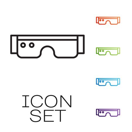 Black line Smart glasses mounted on spectacles icon isolated on white background. Wearable electronics smart glasses with camera and display. Set icons colorful. Vector Stok Fotoğraf - 147584143