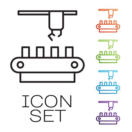 Black line Factory conveyor system belt icon isolated on white background. Robot industry concept. Set icons colorful. Vector 向量圖像
