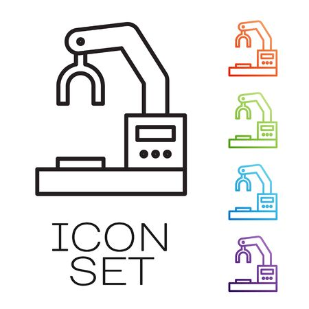 Black line Industrial machine robotic robot arm hand factory icon isolated on white background. Industrial robot manipulator. Set icons colorful. Vector Illustration