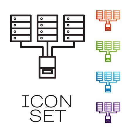 Black line Server, Data, Web Hosting icon isolated on white background. Set icons colorful. Vector Çizim