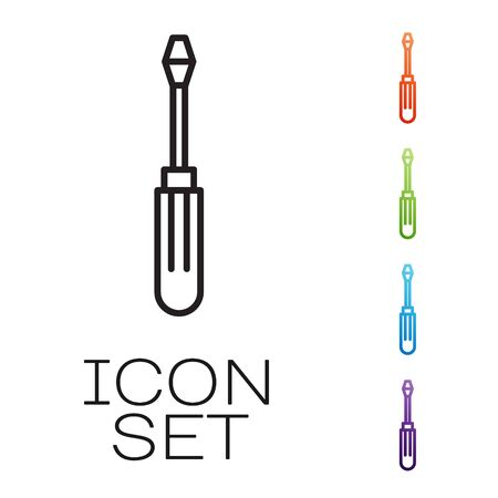 Black line Screwdriver icon isolated on white background. Service tool symbol. Set icons colorful. Vector