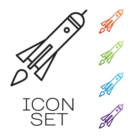 Black line Rocket ship with fire icon isolated on white background. Space travel. Set icons colorful. Vector Illustration