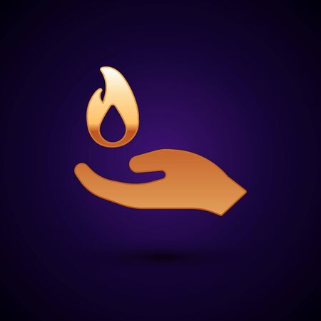 Gold Hand holding a fire icon isolated on black background. Vector 矢量图像