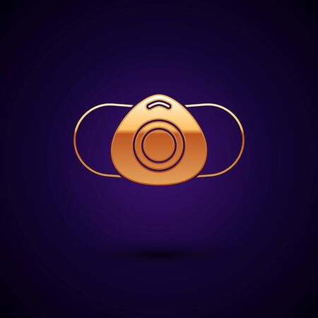 Gold Medical protective mask icon isolated on black background. Vector