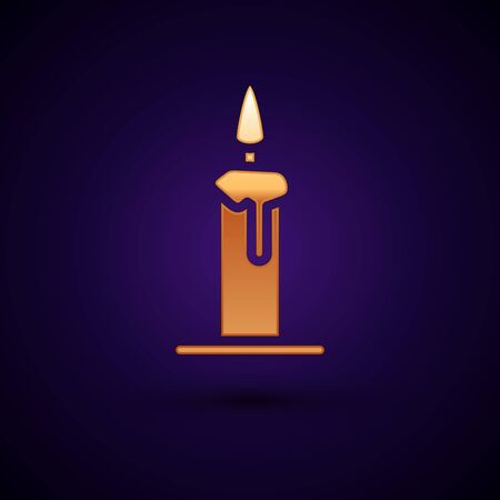 Gold Burning candle in candlestick icon isolated on black background. Cylindrical candle stick with burning flame. Vector Ilustrace