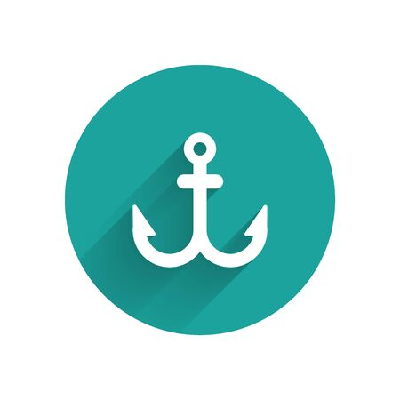 White Anchor icon isolated with long shadow. Green circle button. Vector Иллюстрация
