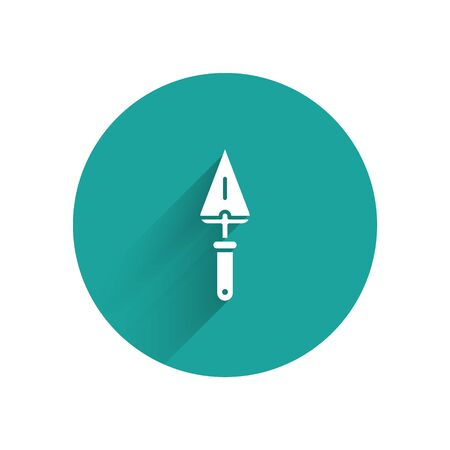 White Trowel icon isolated with long shadow. Green circle button. Vector Illustration Illusztráció