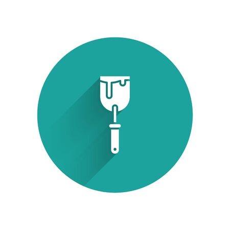 White Putty knife icon isolated with long shadow. Spatula repair tool. Spackling or paint instruments. Green circle button. Vector Illustration Illustration