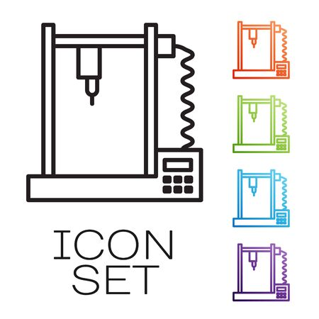 Black line 3D printer icon isolated on white background. Set icons colorful. Vector