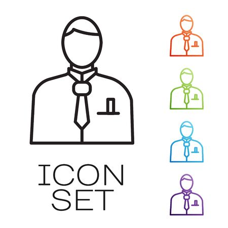 Black line Businessman or stock market trader icon isolated on white background. Set icons colorful. Vector Stok Fotoğraf - 147580463