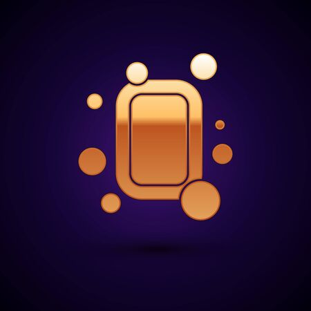 Gold Bar of soap icon isolated on black background. Soap bar with bubbles. Vector