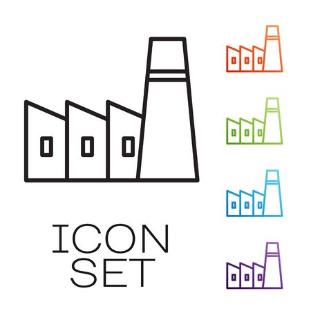 Black line Oil and gas industrial factory building icon isolated on white background. Set icons colorful. Vector Vectores