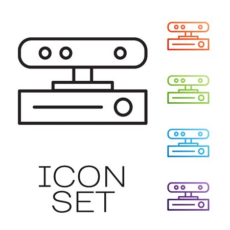 Black line Motion sensor icon isolated on white background. Set icons colorful. Vector